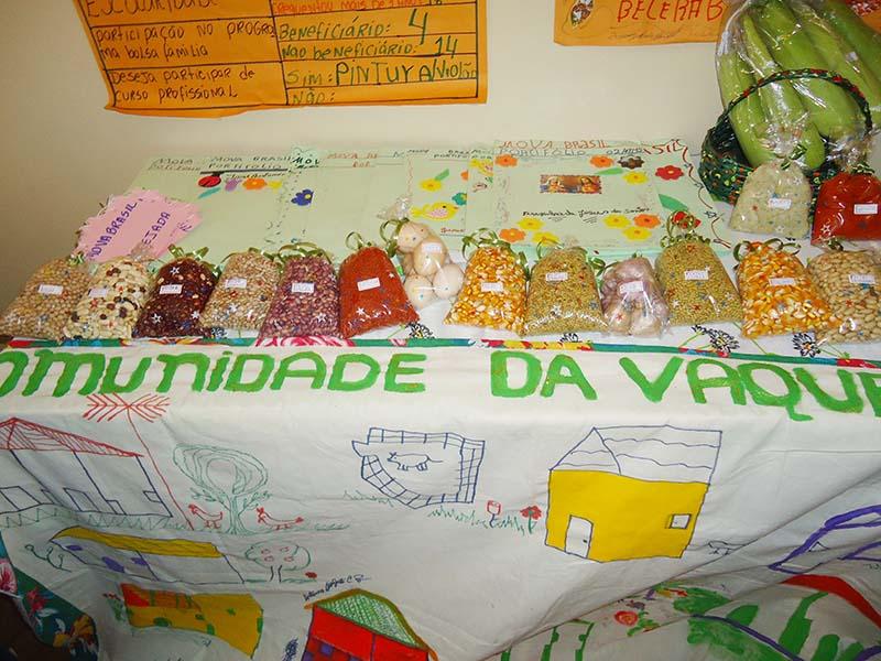 Demostrativo dos produtos produzidos por educanos assentamento para terra